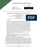 Factors Influencing Export - A Conceptual Analysis