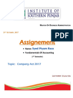 ASSIGNMENT Accounting (Company Act 2017)