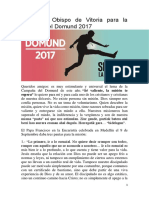 Carta Del Obispo de Vitoria Para La Jornada Del Domund 2017
