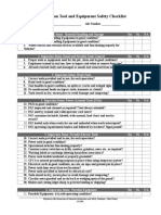 Construction Tool Safety Checklist Rev