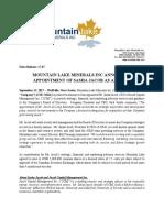 Mountain Lake Minerals Inc. Announces Appointment of Sasha Jacob as Advisor