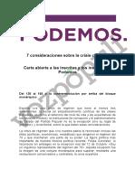 Carta de Pablo Iglesias a la militancia de Podemos