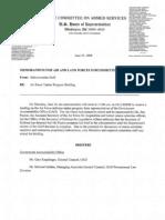 HASC MEMO on Air Force Tanker Program Briefing 6 26 08