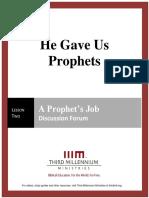 He Gave Us Prophets - Lesson 2 - Forum Transcript
