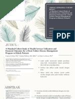 Jurnal Appraisal Cohort Study - A Matched Cohort Study