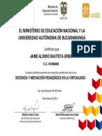 Certificado Docencia Virtual MEN