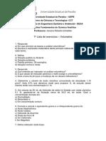6ª ESA Lista de Exercícios F - Volumetria
