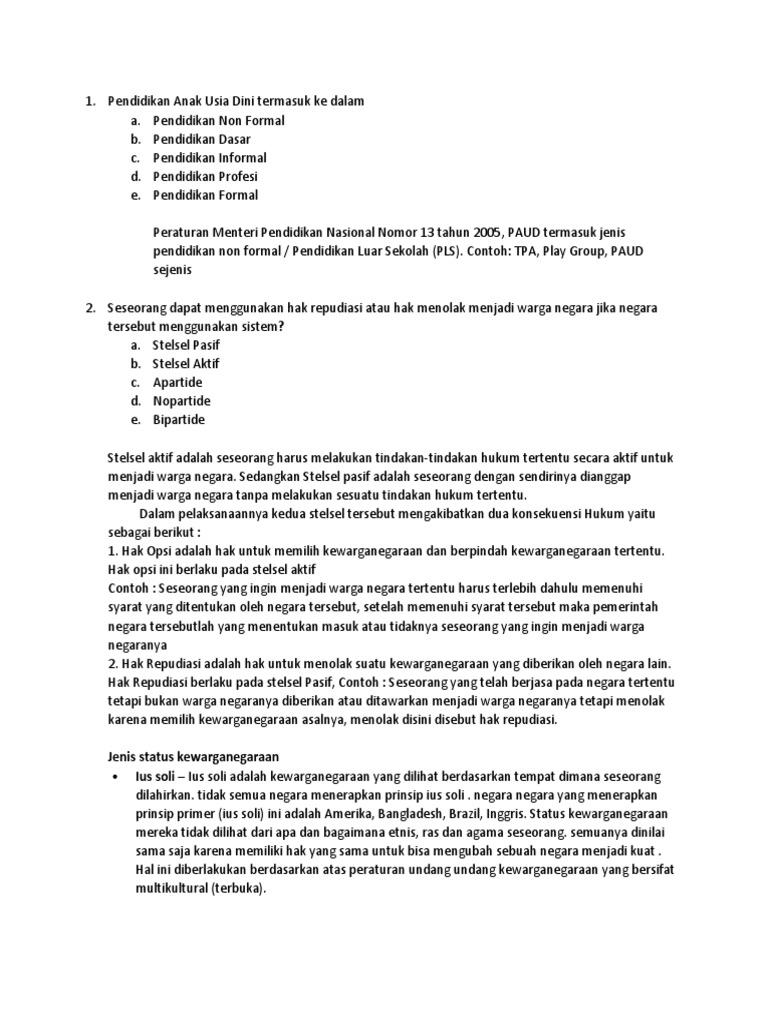 Pengertian Hak Opsi dan Hak Repudiasi (Besarta Contoh | Pelajaran Sekolah | Bank Soal
