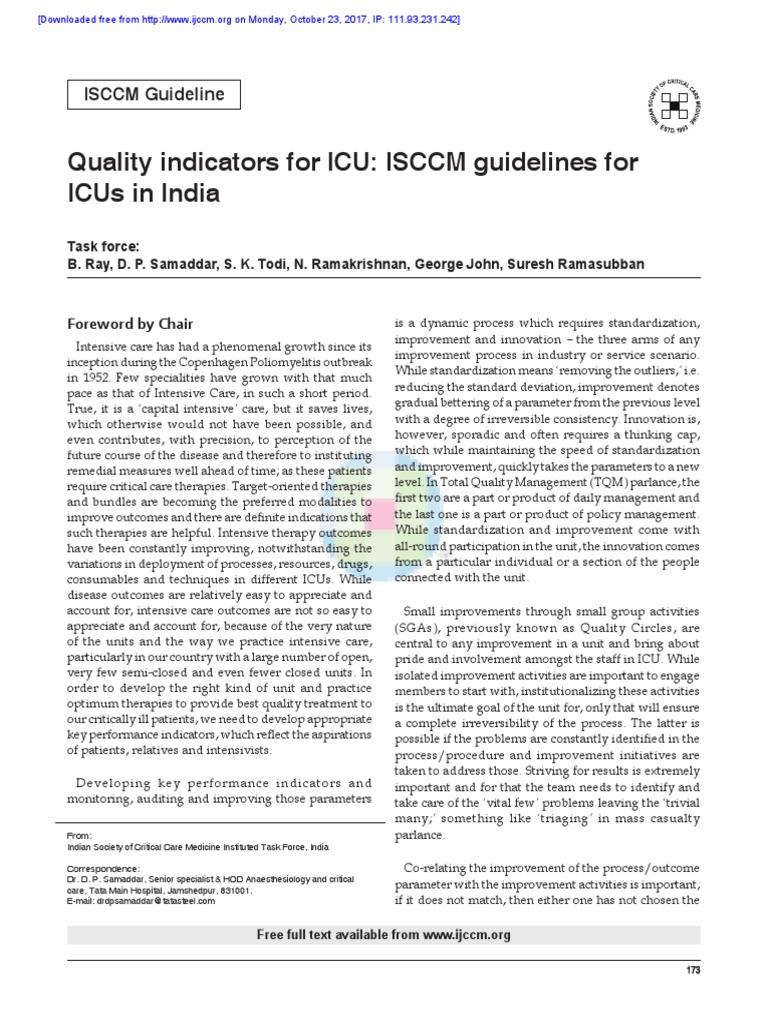 ISCCM Quality Indicators | Intensive Care Medicine