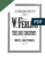 Ferling Trois Duos Concertants Op13 Pour 2 Hautbois