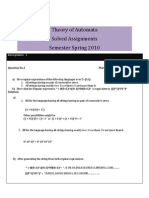 Theory of Automata - Solved Assignments - Semester Spring 2010