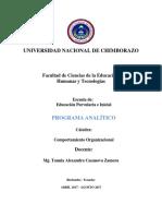 Programa Analitico Comportamiento Organizacional Parvularia
