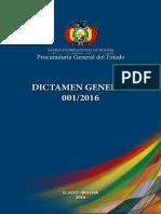 Dictamen Procuradurial 001/2016