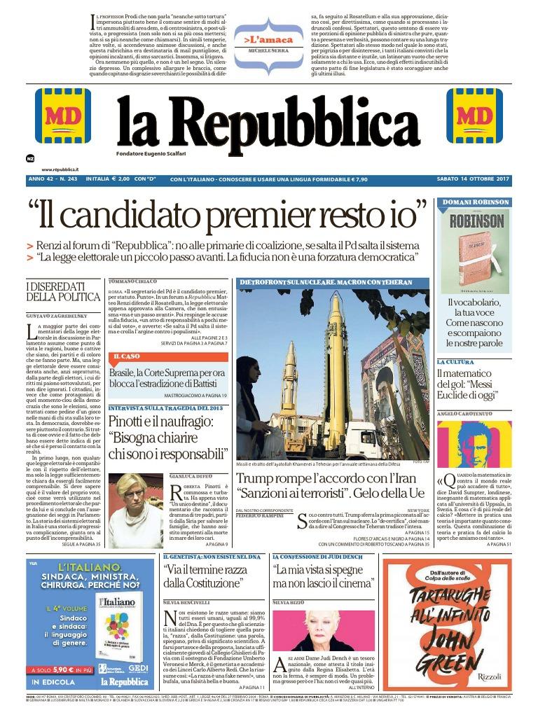 La Repubblica 14 Ottobre 2017 e1dd2d8a263