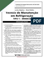 p t Cnico de Manuten o Em Refrigera o Fund Pro Sangue 2013 Fgv