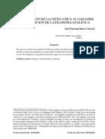 APROXIMACIÓN DE LA CRÍTICA DE G. H. GADAMER A LA TRADICIÓN DE LA FILOSOFÍA ANALÍTICA