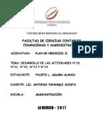 PLAN DE NEGOCIOS II DESARROLLO DE LAS ACTIVIDADES N°10, N°11, N°12, N°13 Y N°14..FALTA TERMINAR....