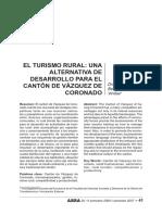 El Turismo Rural_una Alternativa de Desarrollo Para El Cantón de Vázquez de Coronado