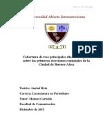 Anabel Reta - Des centralización de la Ciudad de  Buenos Aires - Cobertura mediática de las Primeras elecciones comunales