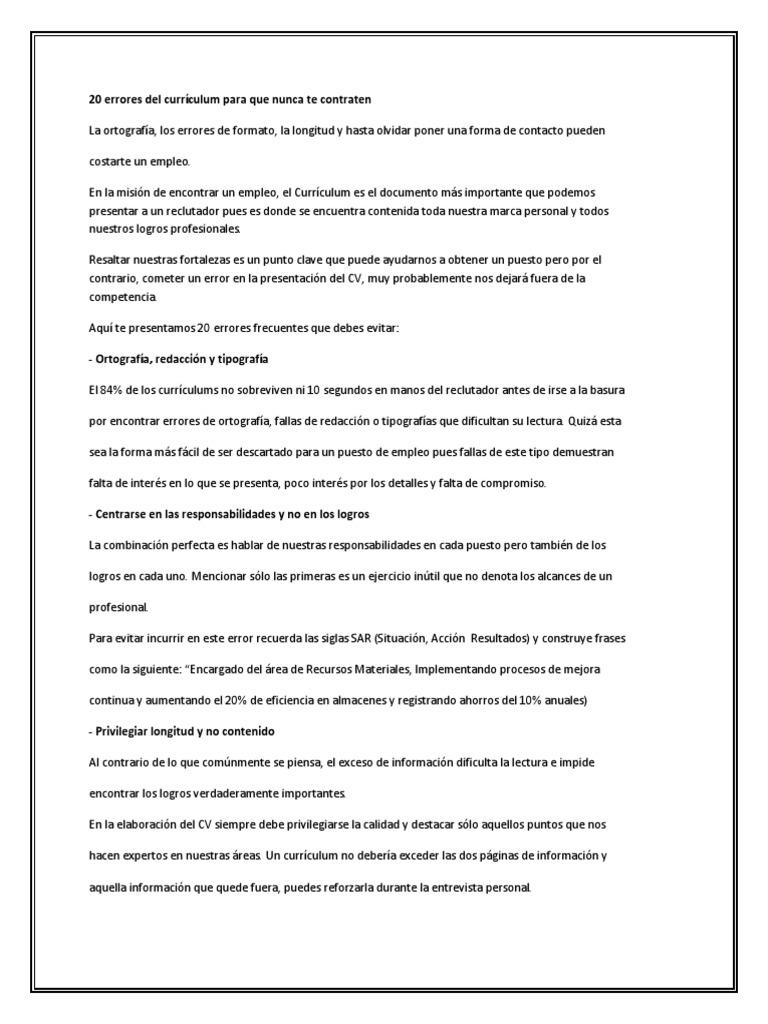 20 Errores en Un Curriculum