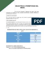 CONSTANTE DIELÉCTRICA O PERMITIVIDAD DEL VACÍO