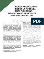 Zonificación de Amenazas Por Inundación en La Vereda La Estación Río Piedras, Jurisdicción Del Municipio de Aracataca Magdalena