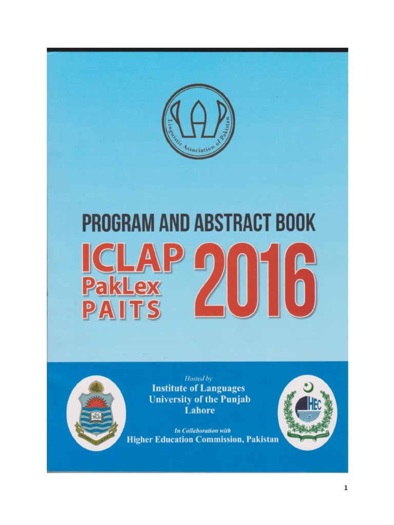 Book Abstract of ICLAP 2016 | English As A Second Or Foreign ...