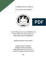 A Recuperac a o Da Empresa No Processo de Insolvencia Ms