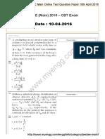 Www.myengg.com JEE Main Online Test Question Paper 10-04-2016 (1)