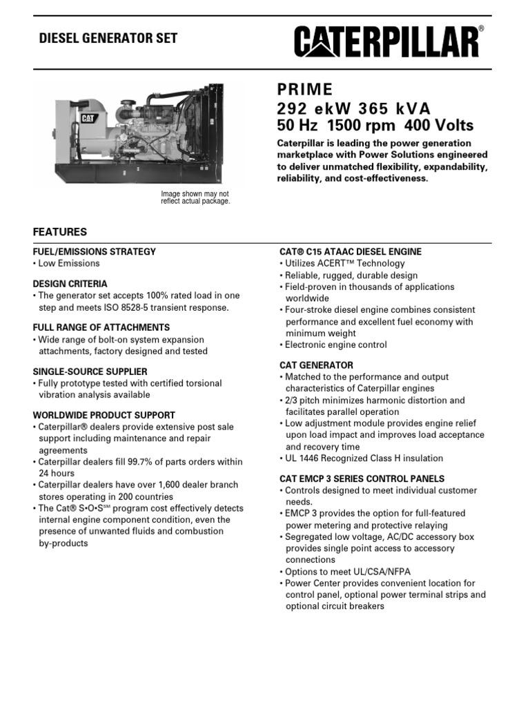 Spec Sheet c15 365 Kva Prime Low Emission | Diesel Engine
