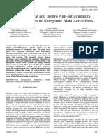 Phytochemical and Invitro Antiinflammatory Activity Studies of Naregamia Alata Aerial Parts