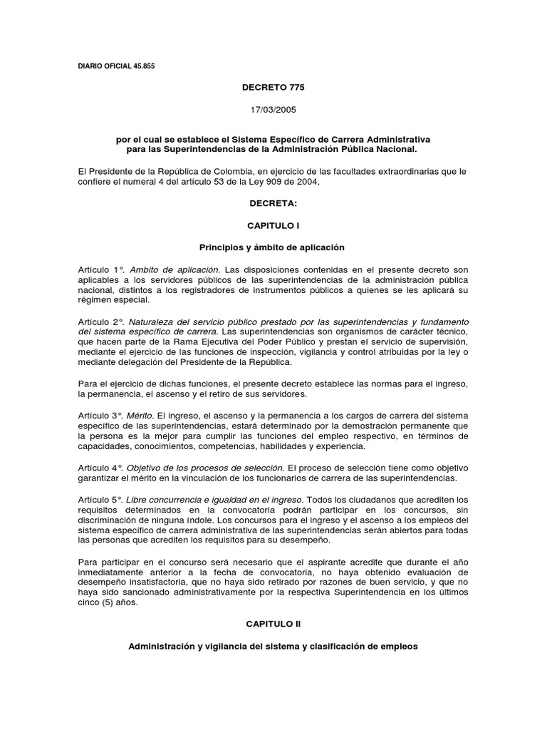 DECRETO 775 17-03-2005 Se establece el Sistema Especifico de ...