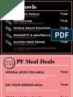 Pasta Flyer Menu (October 2017)