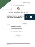 Auditoria de Gestion Al Sistema de Colocacion y Recuperacion de Ccartera de La Cooperativa Coopac Asutro
