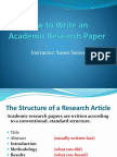 The Shape of a Research Article