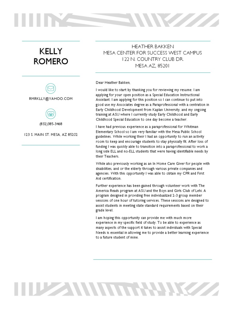 Kelly romero cover letter edt180 special education sharing xflitez Image collections