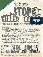 CAP Flyer for Stop Killer Cops Forum 1975