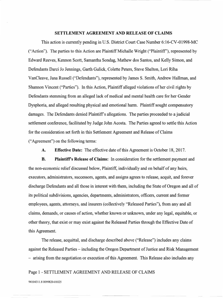 Wright Settlement Agreement And Release Of Claims