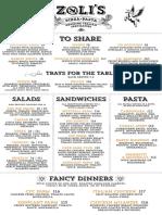 Zoli's menu for new Addison restaurant