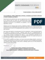 Respuesta a los académicos, artistas, intelectuales, activistas y ciudadanos que hicieron el llamado al Frente Ciudadano por México
