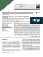 Analysis Revealing Plasma Lipidomic Alteration in Ovarian Cancer