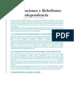 Conspiraciones y Rebeliones Por La Independencia