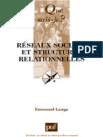 Réseaux sociaux et structures relationnelles - Emmanuel Lazega