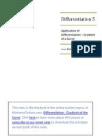 Nota Ulangkaji Matematik Tambahan silibus SPM Tingkatan 4 - Pembezaan (Kecerunan Lengkungan)