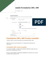 Version Resumida Formularios 200 y 400
