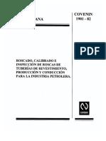 Covenin 1901-82 Roscado, Calibrado e Inspeccion de Roscas de Tuberias