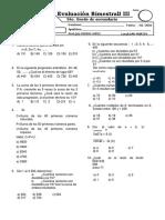 Examen Bimestral Aritmetica 3 Bimestre 5 Sec
