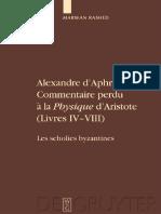 Alexandre DAphrodise Commentaire Perdu à La Physique DAristote Livres IV-Viii