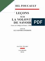 Lecons Sur La Volonte de Savoir Cours Au College de France 19701971 Suivi de Le Savoir Ddipe