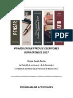 Programa del Primer Encuentro Provincial de Escritores Bonaerenses en La Plata